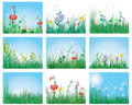 Meadow silhouettes Stock Photos