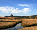 Meadow Stream in front of Devils Tower near Hulett and Sundance Wyoming near the Black Hills Royalty Free Stock Photo