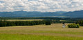 Meadow in summer. Low Tatras and cloudy sky. Royalty Free Stock Photo