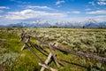 Meadows and Teton Mountains Royalty Free Stock Photo