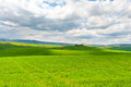 Meadows of tuscany farmhouse and green sloping Royalty Free Stock Photo