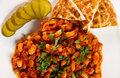 Meal beans stew with pickles and bread Stock Photography