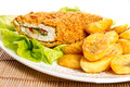 Meal fried chicken breast and potatoes Stock Photos