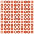 100 meal icons hexagon orange
