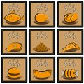 Meal icons set common food and everyday vector collection of symbols and emblems Stock Images