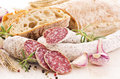 Meal with Salami and Bread Royalty Free Stock Photos