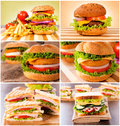 Meal time group of unhealthy food on the table Stock Photos