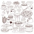 Meal and ware doodle set Royalty Free Stock Photo