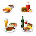 Daily meals icon set illustrations of Royalty Free Stock Image