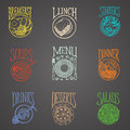 Meals menu icons latino style icon of colourful on blackboard Stock Photography