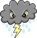 Mean Thunder Cloud Vector Royalty Free Stock Photo