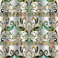 Meander floral colorful seamless pattern. Vector geometric back Royalty Free Stock Photo