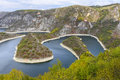 Meander of the Uvac river, Serbia Royalty Free Stock Photo