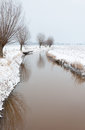 Meandering ditch in a rural landscape covered with snow thin layer of ice is winding through snowy agricultural row of pollard Royalty Free Stock Photography