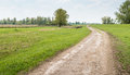 Meandering path in a picturesque rural landscape curved country road the spring season Royalty Free Stock Image