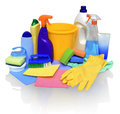 Means for cleaning on white background still life of assortment of various bright with clipping path cleaner bathroom cleaner Stock Image