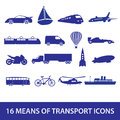 Means of transport icon set eps blue Royalty Free Stock Photography