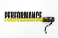 Measure performance measuring tape over the word on white background Royalty Free Stock Photo