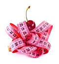 Measure tape with cherry Stock Images