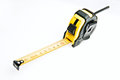 Measure tape meter at white background yellow Stock Image