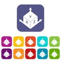 Measurement cube square icons set flat Royalty Free Stock Photo