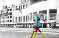 Measurement theodolite tool at construction site Stock Image