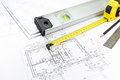 Measurement tools on blueprint architectural construction documents plans and blueprints series Royalty Free Stock Photos