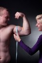 Measuring bicep Stock Image