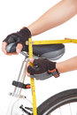 Measuring bike saddle Royalty Free Stock Image