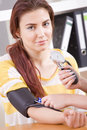 Measuring blood pressure Stock Image