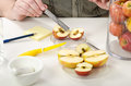 Measuring the diameter of the rotten apple in phytosanitary laboratory Royalty Free Stock Images