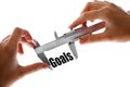 Measuring goals close up shot of a caliper the word Royalty Free Stock Photo