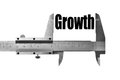 Measuring growth detail of a caliper the word Royalty Free Stock Image