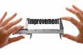 Measuring improvement two hands holding a caliper the word Stock Images