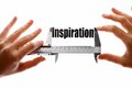Measuring inspiration two hands holding a caliper the word Royalty Free Stock Photos