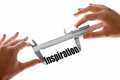 Measuring inspiration two hands holding a caliper the word Royalty Free Stock Image