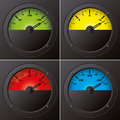 Measuring instruments green yellow red and blue Royalty Free Stock Photography