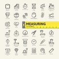 Measuring, measure elements web icon set - outline icon set Royalty Free Stock Photo