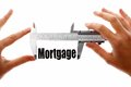 Measuring mortgage two hands holding a caliper the word Stock Images