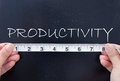 Measuring productivity tape measurement of the word on a chalkboard Royalty Free Stock Photos