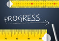 Measuring progress tape and improvement concept two different tape word with chalk with metric system and Royalty Free Stock Images