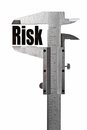 Measuring risk close up shot of a caliper the word Royalty Free Stock Photography