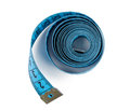 Measuring tape closeup view of blue isolated over white background Stock Photos