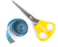 Measuring tape closeup view of blue and scissors over white background Stock Image