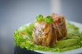 Meat aspic jellied with carrots garnished with vegetables Royalty Free Stock Images