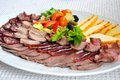 Meat assortment plate Royalty Free Stock Images