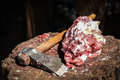 Meat and axe Royalty Free Stock Photo
