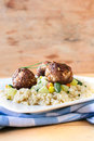 Meat balls and couscous Royalty Free Stock Photo