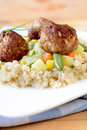 Meat balls and couscous in plate Royalty Free Stock Photo