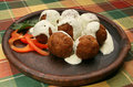Meat balls with white sauce Stock Photo
